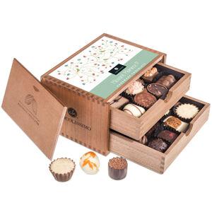 Chocolissimo - Dvouposchoďová dřevěná škatulka s pralinkami pro maminku 250 g