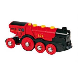 Brio - Mohutná elektrická červená lokomotiva se světly červená