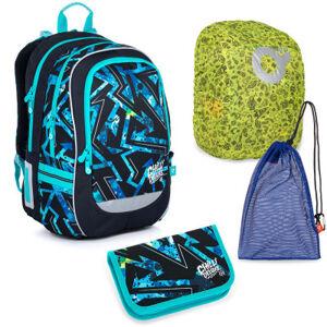 Velký školní set Topgal CODA 21020 B batoh + penál + pytlík na přezůvky + pláštěnka