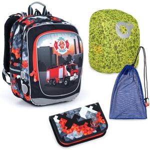 Velký školní set Topgal ENDY 21013 B batoh + penál + pytlík na přezůvky + pláštěnka