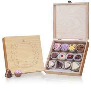 Chocolissimo - Čokoládové pralinky v dřevěné škatulce s gravírováním 210 g