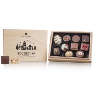 Chocolissimo - Vánoční dřevěná krabička - 10 pralinek bez alkoholu 125 g